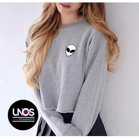 Sweater Sueter Alien Unicorn Panda Corte De Dama Sin Capucha
