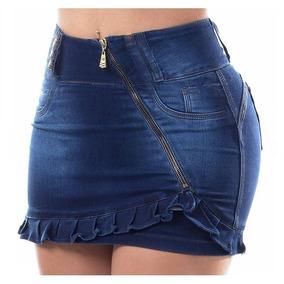 Falda,pollera Minifalda De Jean De Diseño Marca Casi Bruja