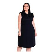 Vestido Plus Size Festa Preto Midi Moda Evangélica Feminino