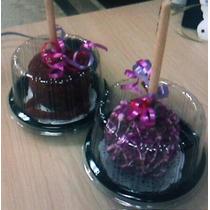 *10 Envases Individuales Manzanas Mini Pastel Chocolate*