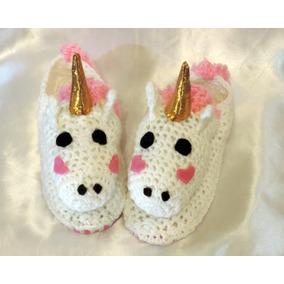 Pantufla Unicornio Con Luz - Tejido - Crochet