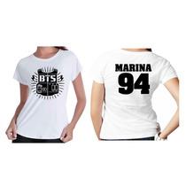 Camiseta Kpop Personalizada Banda Grupo Bts Com Seu Nome Top