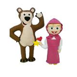 Boneca Decoração Masha Urso Feltro Fests Infantil Decoração