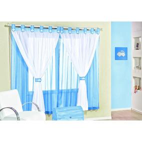 Cortina Para Quarto Bebê Infantil 2,00x1,70 Azul Tecido Voal