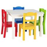 Mesa Con 4 Sillas De Colores Para Niños Madera Tot **