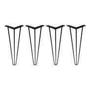 4 Pé Hairpin Leg 5/16 Triplo Industrial Mesa Preto 72cm