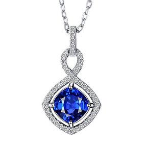 Collar Con Colgante De Zafiro Infinito Blanco Y Azul De Plat