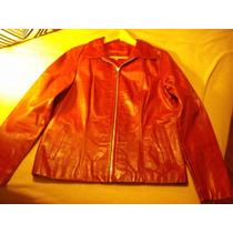 Campera De Cuero Mujer Roja