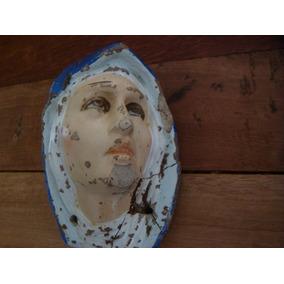 Antigua Figura (rostro) En Barro Virgen Dolorosa