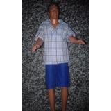 Ropa-conjunto Bermuda+camisa A Cuadros Para Muñeco Ken