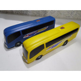 02 Onibus Tipo Bolha Um Azul E Outro Amarelo 46cm Comp X10cm