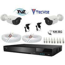 Kit Dvr Tecvoz 08 Canais Flex + 2 Cameras Tvz E Acessorios