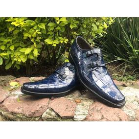 Zapatos Double Monk, Piel De Cocodrilo Original, Tipo Lv