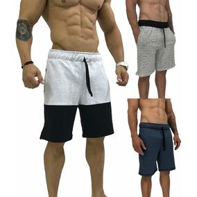 3 Bermuda Moletom Moletom Slim Fit Shorts Calção Masculina