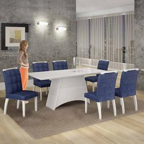 Mesa De Jantar Malaga Vidro Branco C/6 Cadeiras Suede Azul/b