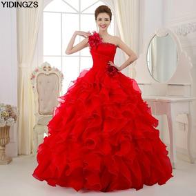 Vestido Xv Años Princesa 1 Hombro L Rojo F