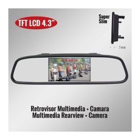 Kit Retrovisor Lcd C/camera + Sensor Re Preto Genius Rc43