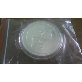 Moeda Medalha Banhada Prata Entrega Bandeira