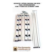 Suporte Inox Churrasqueira 5 Posições + 4 Tubos Alumin 60cm