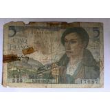 Billete $ 5 Francos Banco De Francia 1943 Exc Envió Gratis