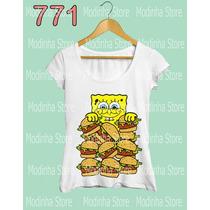 Camiseta Feminina Bob Esponja Hambúrguer Larica Desenho