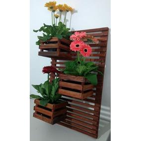 Jardim Vertical Treliça De Madeira Com Vaso 3 Cachepot