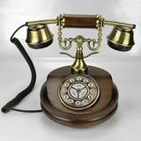 Teléfono En Madera Y Dorado, Símil Modelo Francés Antiguo.