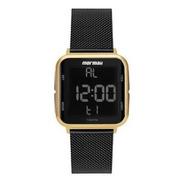 Relógio Feminino Digital Mormaii Mo6600ah/8p Preto E Dourado