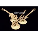 Centro De Mesa Trio De Guitarra Em Mdf Cru