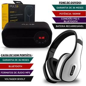 Caixa Som Portátil Bluetooth + Fone Ouvido Branco Pulse