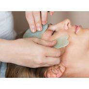 Masajeador Piedra Gua Sha Jade Verde Facial Modelo Grande