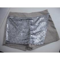 Shorts Saia Com Paetes Marrom E Cinza Tam 40 Usado Bom Estad