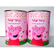 10 Latas Alcancías Personalizadas Peppa Pig!! Oferta 10x7 Cm
