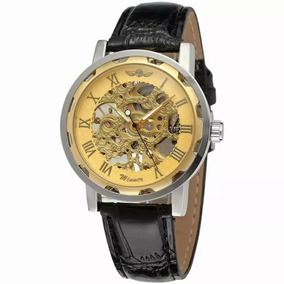 Relógio Pulseira De Couro Winner Dourado