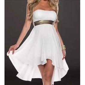Vestido De Chifon Color Blanco Talle M Sería 40 A 42