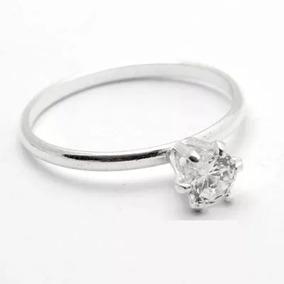 Anel Prata Solitário Cálice Zircônia Pedra Preço De Fábrica