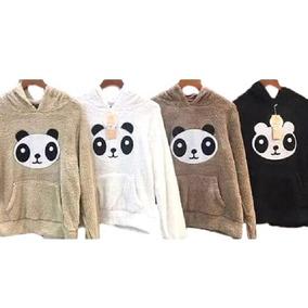 Blusa Feminina Com Capuz Estampa Urso Panda. Ref: 437