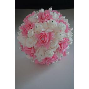 Ramo Blanco Con Rosa Novia Xv Años Cristales Grande 25cm