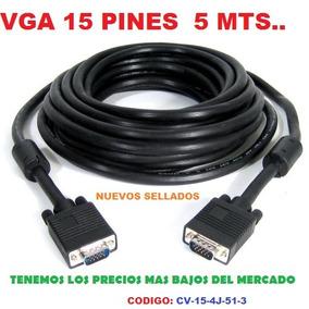 Cable Vga Macho/macho 15 Pines 5m Para Extensión