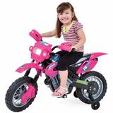 Moto Elétrica Infantil Super Moto Motocross Barata - Rosa