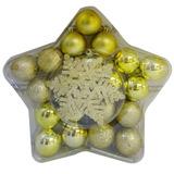 Kit Enfeites De Natal 24 Peças Nantes Niazitex Ouro Awt