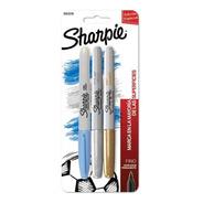 Marcadores Sharpie Fino X 3 Celeste/oro/plata