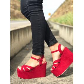 Sandalia Tacon Corrido Plataforma Roja De Moda Mujeres Damas