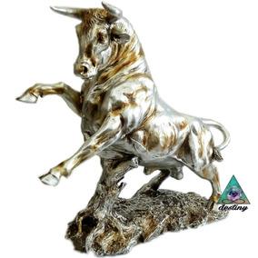 Toro Figura En Resina Y Polvo De Alabastro