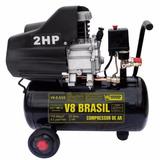 Compressor De Ar 2hp 25 Litros 8,2 Pés 110v V8 Brasil 85982