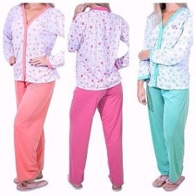 Pijama Longo Amamentação - Idosos - Pós Cirurgia - Pós Parto