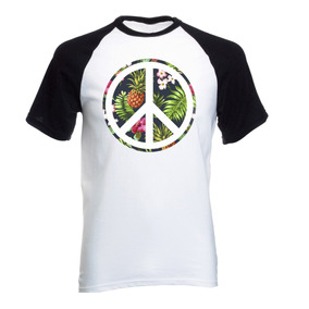 Camiseta Raglan Peace Love Paz E Amor Hippie Florar Simbolo