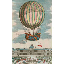 Lienzo Tela Vuelo Globo Aeroestático Paris 1783 82 X 50 Cm