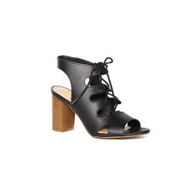 Trender Sandalia Color Negro Y Tacon Beige