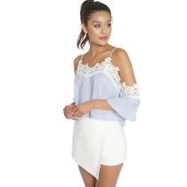 Blusa Blanco Con Azul Y Encaje Moda Fashion Improtada